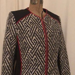 3/$15 H&M jacket black and white size 8 red trim